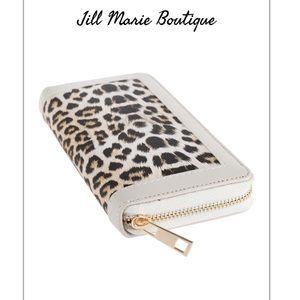 Leopard print checkbook wallet NWT